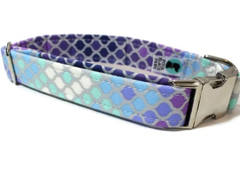 Purple Mermaid Scales Dog Collar - Ombre Dog Collar - Girl Dog Collar - Purple Dog Collar - Female Dog Collar - Geometric Dog Collar