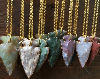 Agate Arrowhead Golden Necklaces/ Agate Necklace/ Flint Arrowhead/ Geode Pendant/ Natural Gem Stone/ Healing Jewelry