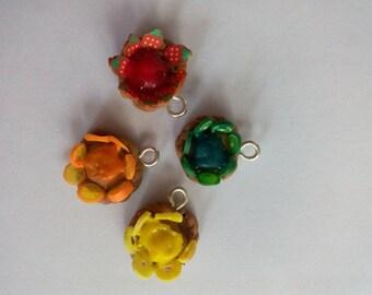 Set of four pendants fruit tarts
