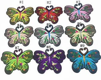 9pcs Mixed 80x65mm Butterfly Patches Embroidered Iron on Clothing Applique Sewing DIY Accessory Patch Badge,9 Colors Mixed
