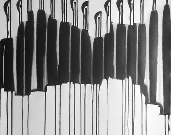 """A1 Contemporary Modern Abstract Fine Art Hand Painted Black & White Ink Wash Painting 23.4x33.1"""" Untitled 3043"""""""