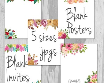 Blank Poster Blank Wedding Announcements Baby Shower Invitations Blank Fliers Watercolor Flowers
