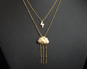 Lightning and Rain Cloud Layered Necklace, Gold Thunder Storm Weather Two Strand Necklace, Raindrop Chain