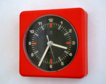 ORANGE 1970s German PHILIPS Wall Clock - Bright Orange and Black - Keeps Perfect Time - ICONIC - Good Condition - Goes Great with MidCentury