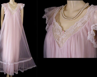 Vintage Tosca Nightgown Double Nylon nightgown  Princess Pink nightgown lace nightgown designer nightgown 60s nightgown 70s nightgown