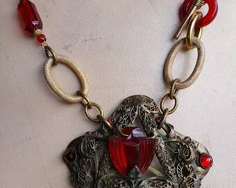 Hand made vintage assemblage statement necklace