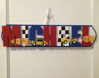 Custom Boys Name Sign - Nursery Wall Letters Name Sign - Custom Hand Painted Boys Name Sign - Race Car Name Sign
