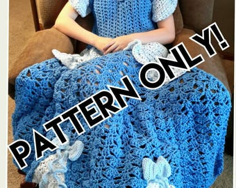 Princess Dress Blanket, blue, crochet pattern, Digital Download, PDF only, toddler, child, and adult sizes