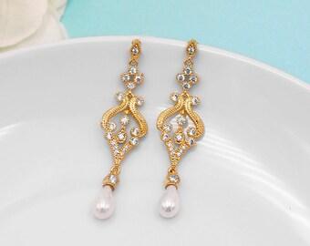 Yellow Gold Pearl Bridal Earrings, Pearl cz earrings, cubic zirconia earrings, wedding jewelry, bridal jewelry, Gabriella Gold Earrings