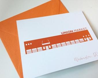 Washington DC Greeting Card Union Market A2 Orange