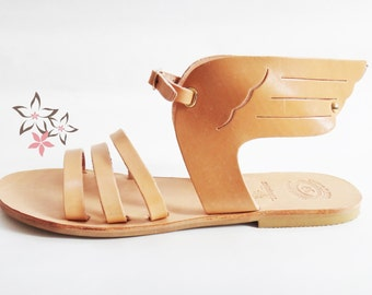 Hermes Sandals/Ancient Greek High Quality Leather w Stripes/Natural Color/Slingback Slides Strap Winged Sandals