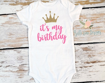 It's My Birthday Gerber Onesie Bodysuit with Crown | First Birthday Glitter Gold | 1st Birthday Girl | Cake Smash Outfit | Photo Prop | 327
