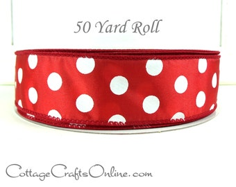 "Christmas Wired Ribbon, 1 1/2"" , Red and White Polka Dot - FIFTY YARD ROLL - ""Peppermint Dot #9"", Valentine Wire Edged Ribbon"