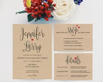 Wedding Invitation Template Download, Wedding Invitations Packages, Printable Wedding Invitation Template, Kraft Wedding Invitation, PDF