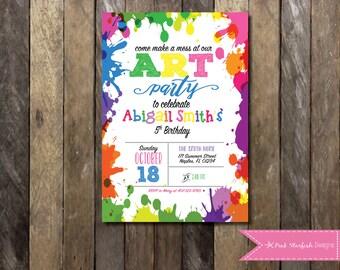 Art Party Invitation, Chalkboard Rainbow Art Party Invitation, Paint Party Invitation, Art Party Birthday, Paint Splatter, Birthday Party