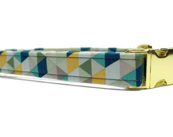 Blue Kaleidoscope Dog Collar | Your choice of metal buckle or plastic buckle | Blue Dog Collar | Geometric Dog Collar | Unique Dog Collar