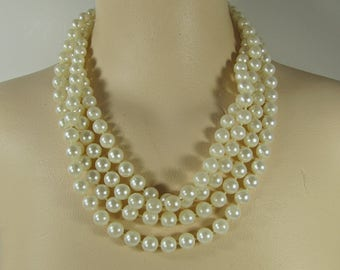 Vintage LONG PEARL NECKLACE Faux Pearls Beads w/ Clasp Makes it Versatile Costume