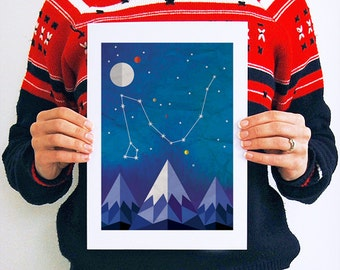 Draco, Constellation, Print, Art, Night Sky, Astronomy, Space, Gifts, Celestial, Map, Stars, Star Map, Wall Art, Geometric, Mountain, A4, A3