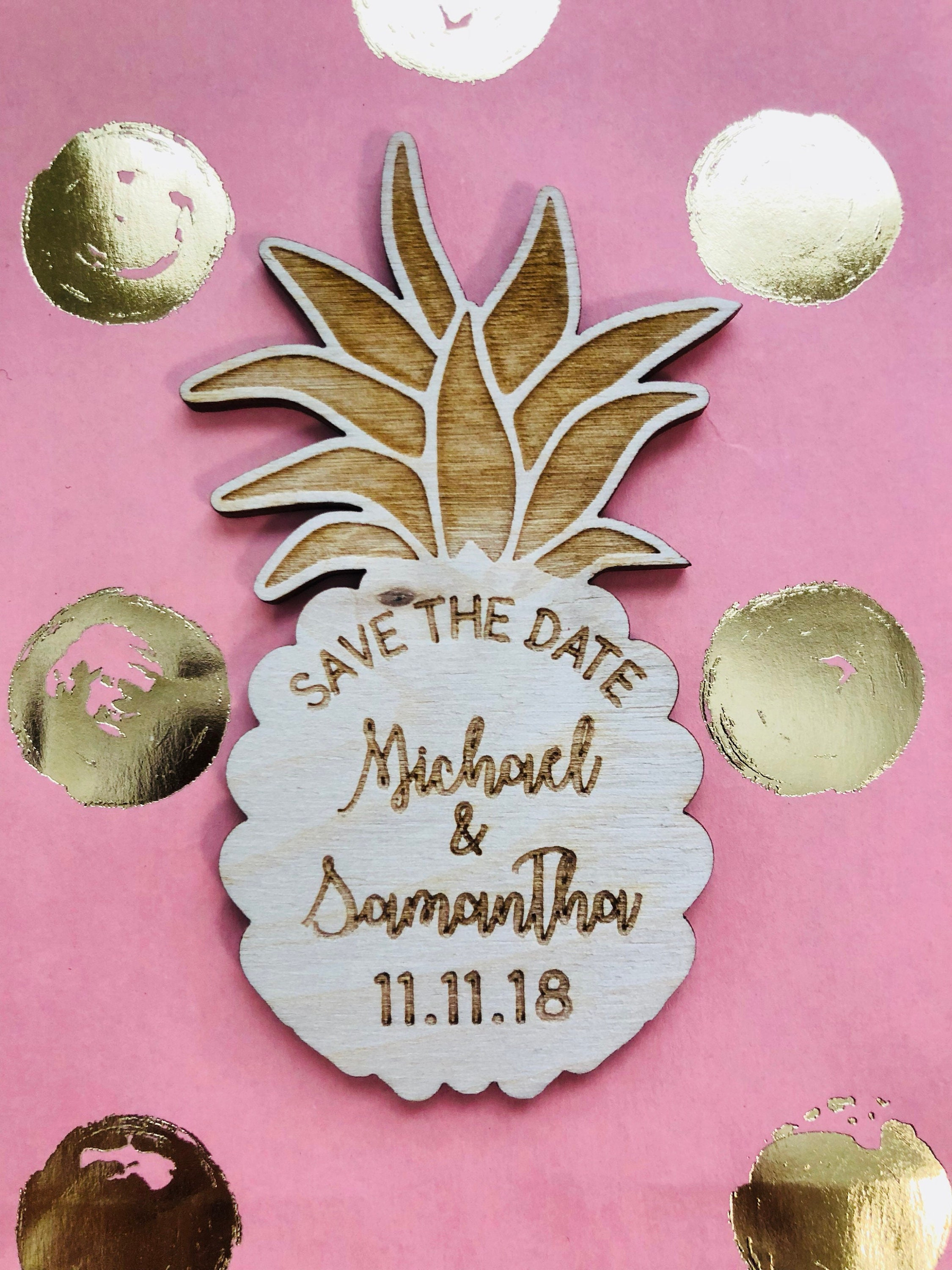 Pineapple Save the Date Magnets Laser Cut Save The Date