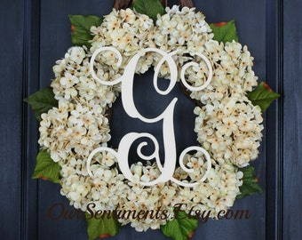 Monogrammed Gifts/Antique White Hydrangeas/Hydrangea Wreaths/Mothers Day Gifts/Home Decor Ideas/Spring wreaths for door/Personalized Gifts