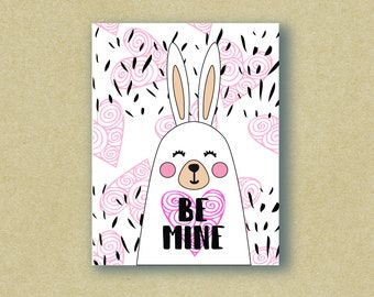 Be Mine Bunny - Love Card - Valentine's Day Card - Greeting Card