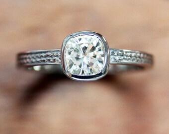 Forever brilliant cushion Moissanite engagement ring, 14k palladium white gold, moissanite ring, white gold engagement ring, made to order