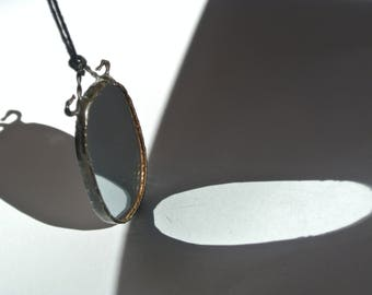 Pendants oval, pendant stained glass, necklace handmade, mirror jewelry