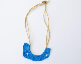 Royal blue necklace crochet statement necklace eco jewelry boho elegant summer free form