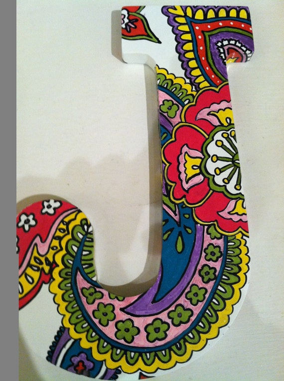 Hand Painted Wooden Letter J