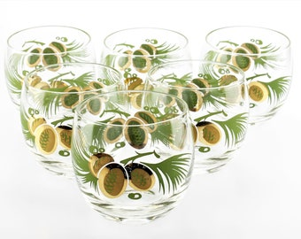 Vintage Green & Gold Pine Cone Motif Roly Poly Rocks/Whiskey/Lowball/Old Fashioned Glasses (Set of 6)