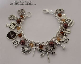 Outlander Dragonfly in Amber Jewelry Sassenach Bracelet, Scottish Thistle Celtic knot, Diana Gabaldon Outlander inspired bracelet, Scottish
