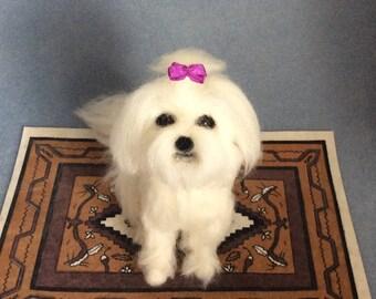 Custom needle felted Maltese dog soft sculpture pet portrait animals made to order