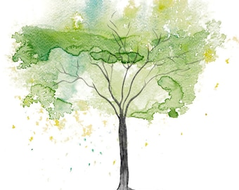 Fine Art Print of my Abstract Watercolour Tree Painting in Green - available in sizes 7 x 5, 10 x 8, 12 x 10, 14 x 11, 16 x 12 and 20 x 16