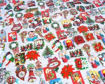 Vintage Christmas Dennison Die Cut Seals  | Labels Stickers | Santa Angels Bells Poinsettias Carolers Snowman | 25 pcs