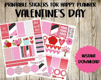 Valentine's Day Printable Planner Stickers for Happy Planner MAMBI - Instant Download PDF