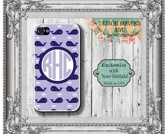 Preppy Whale Monogram iPhone Case, Nautical iPhone Case, Personalized iPhone Case, iPhone 4, 4s, iPhone 5, 5s, 5c, iPhone 6, 6s, 6 Plus