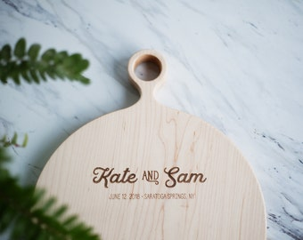 Maple Wood Cutting Board, Custom Engraved Wedding Gift, Personalized Round Cutting Board, Round Serving Board - FREE CARE KIT