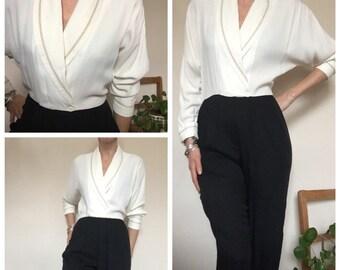 80s vintage black cream monochrome jumpsuit playsuit romper UK 10