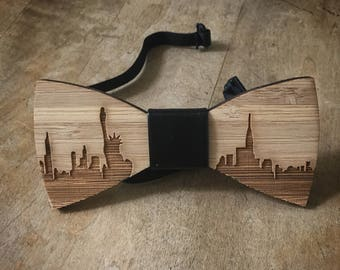 New - Adult Hipster NEW YORK CITY Real Carved Wood Wooden Bow Tie Bowtie Mens Men