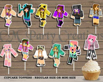 Minecraft Girls Cupcake Toppers, Die Cuts, Birthday Party Cupcake Toppers