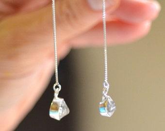 Herkimer Diamond Earrings. Sterling Silver Threader. Mismatched Earrings. Silversmith. Minimalist Ear Threader. Herkimer Diamond Threader.