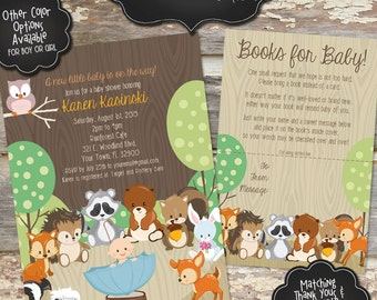 WOODLAND CREATURES Custom Baby Shower Invitation - Girl or Boy - Digital File, You Print - 5x7 - Colors and Wording Customizable