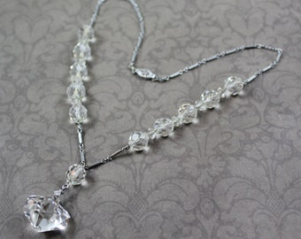 Vintage Art Deco Clear Crystal Beaded and Etched Silver Chain Necklace