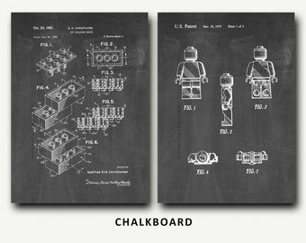 Patent Print - Lego Patent and Legoman Patent Set - Wall Art Poster