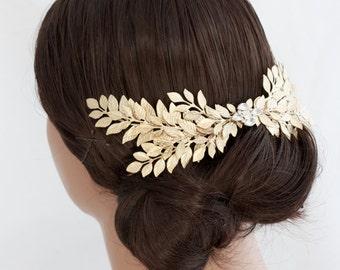 Grecian Headpiece Large Leaf Head Piece Gold Leaves Back Comb Laurel Hair Comb Matt Gold Wedding Hair Accessories ABELLA LARGE COMB