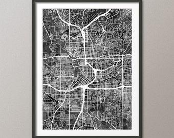 Atlanta Map, Atlanta Georgia City Street Map, Art Print (2391)