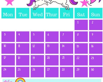 September 2018 Printable Calendar A4 Unicorn