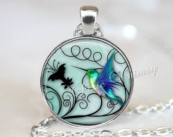 HUMMINGBIRD Necklace, Hummingbird Pendant, Hummingbird Jewelry, Hummingbird Keychain, Hummingbird Keychain, Gift for Bird Lover, Aqua