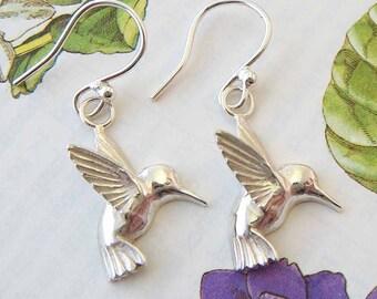 Silver Hummingbird Earrings, bird earrings, Uk