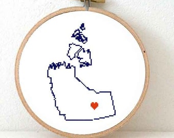 North West Territories Map Cross Stitch Pattern. Northwest Territories ornament pattern with Yellowknife. Canada wedding gift